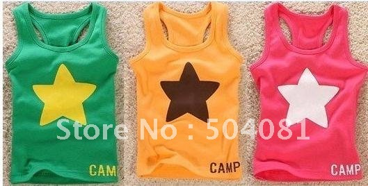 Wholesale Baby Sleeveless T-shirt star strander vest Children summer hot sale Candy colors baby underwears Elastic thread vest(China (Mainland))