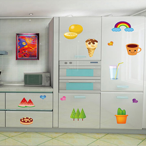 Kitchen Tiles Fruits Vegetables: 1 Set Removable PVC Waterproof Kitchen Wall Stickers Fruit