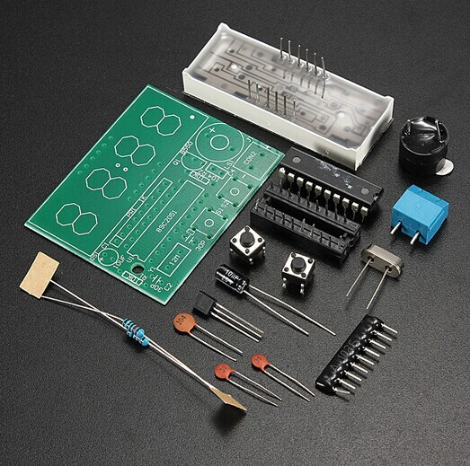 Free Shipping High Quality 4 Bits Electronic Clock Electronic Production Suite DIY Kits(China (Mainland))