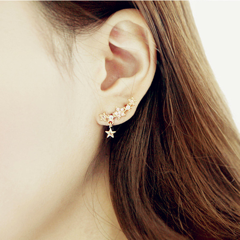 1 Pair Hot Sale Korean Fashion Rhinestone Ear Cuff Earrings Gold-Plated Star Stud Earring women fine jewelry orecchini donna(China (Mainland))