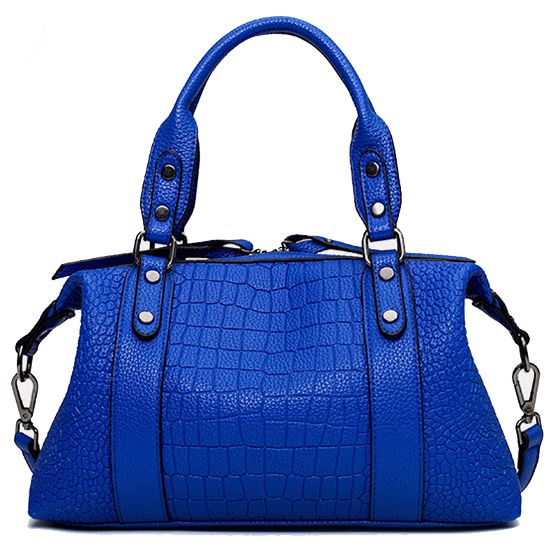 New Original Brand Designer Alligator Leather Women's Bag Handbag Women Messenger ladies hand Bags Tote bolsos mujer Blue FR220(China (Mainland))