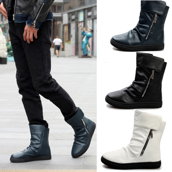 New Winter men boots warm winter snow boots Men's shoes ankle boots slip on Zipper Men Flats boots for men free shipping LS115(China (Mainland))