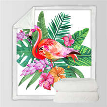 BeddingOutlet Flamingo Velvet Plush Throw Blanket Tropical Plant Girls Bedding Sherpa Blanket for Couch Flower battaniye(China)