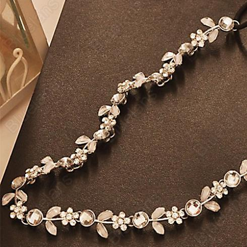Fashion Women's Hot New Silver Crystal Rhinestone Flower Elastic Hair Band Headband Hair Accessories Free Shipping 1H3Y(China (Mainland))