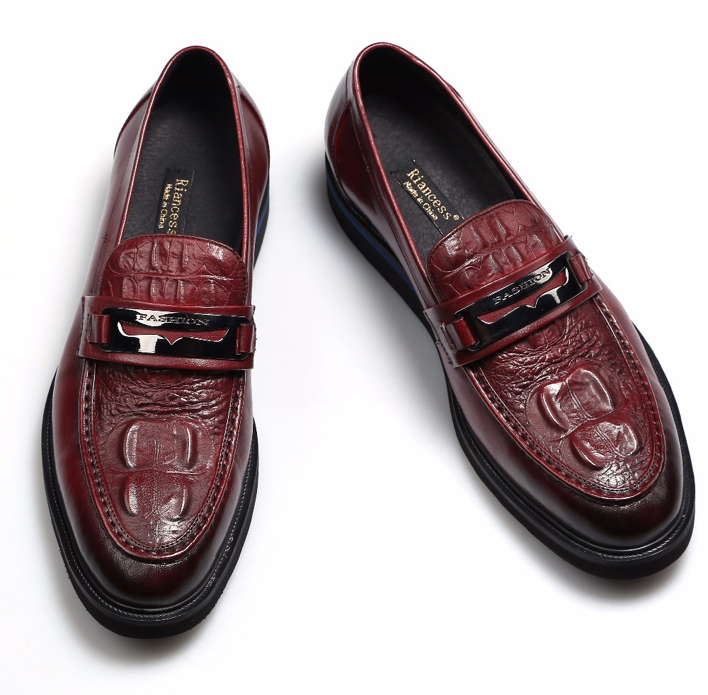 Fashion Crocodile Grain black/wine red summer flats mens loafers wedding shoes genuine leather dress shoes mens casual shoes(China (Mainland))