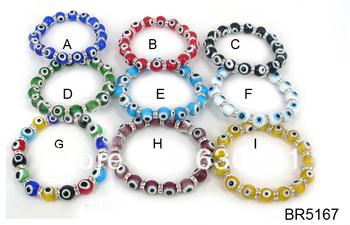 Free shipping Women size 10mm light blue  lucky evil eye glass bracelet
