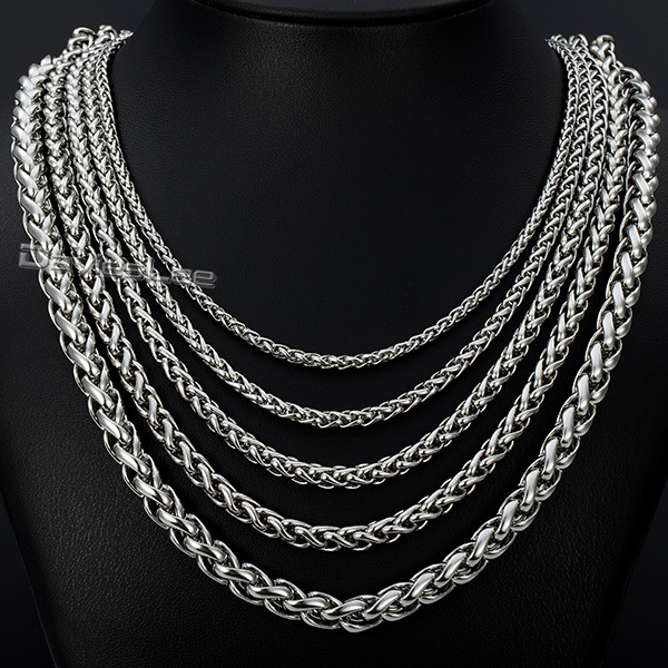 3/4/5/6/ 8mm 18inch-36inch Mens Chain Silver Tone Wheat Style Stainless Steel Chain Necklace Fashion Jewelry DLKN153(China (Mainland))