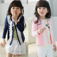 Retail 2014 Spring autumn baby clothing girls outerwear casual sweet lace o-neck kids jackets&coats cotton knitted cardigan