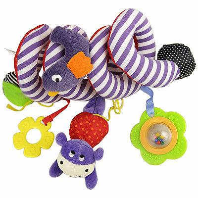 2016 New Christmas Gift Car Plush Bed Crib Hanging Bell Newborn Kids Rattles Mobile Toys Kawaii
