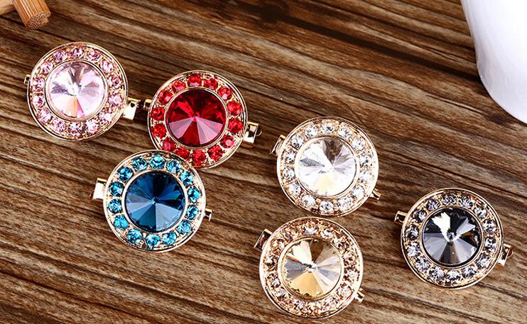Hot selling flower diamond fashion Hijab shawls pins brooches scarf muslim hijab pins 12pcs/lot mix color(China (Mainland))