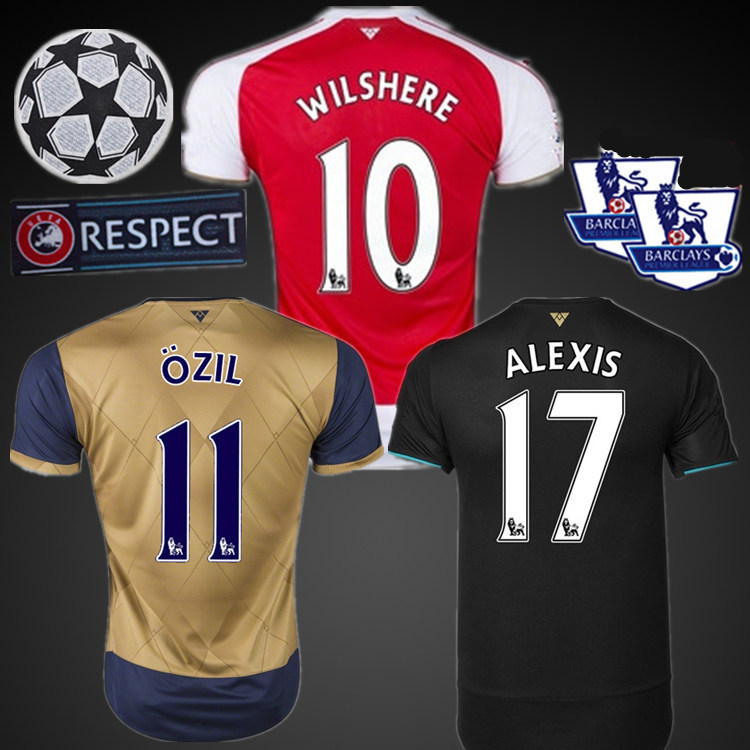 Ship in 5 Days 2015 2016 ALEXIS HOME JERSEY SOCCER RED OZIL AWAY GOLD WILSHERE third away blue black GIROUD ArseN FOOTBALL SHIRT(China (Mainland))