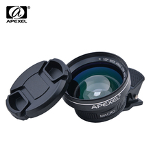 Buy APEXEL Professional HD Camera Lens Kit 0.63X Super Wide Angle + 12.5X Macro Lens, Clip Cell Phone Lens iPhone Smartphones for $15.74 in AliExpress store