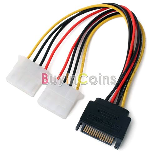 Power Cable 15 Pin SATA Male to 2 IDE Splitter Female US AS #2449(China (Mainland))