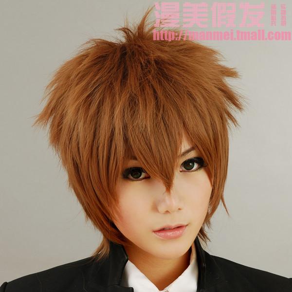 Cos Anime HitmanReborn Hitman Reborn! Sawada Tsunayoshi Cosplay Brown Wig With Hairnet 30cm<br><br>Aliexpress