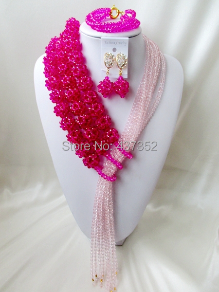 New Design Fuchsia Pink Baby Pink Crystal Costume Necklaces Nigerian Wedding African Beads Jewelry Set 2015 Free shipping NC1085<br><br>Aliexpress