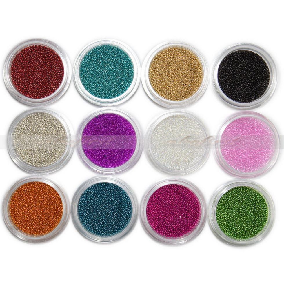 Nails Art 12 x Colors Caviar Micro mini Beads dust 3D DIY Acrylic UV Gel tip Set Free Shipping(China (Mainland))