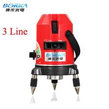Envío gratis el sistema entero Borka 3 líneas 2V1H red 4 puntos línea láser de línea de la cruz nivel láser rotativo autonivelante nivel láser