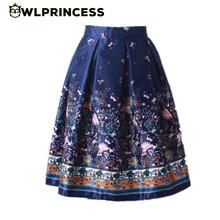 Owlprincess 2016 New Retro Women's tutu Skirt High Waist Pleated Ethnic Floral Print Midi Skirts Vintage Double Layers Ball Gown