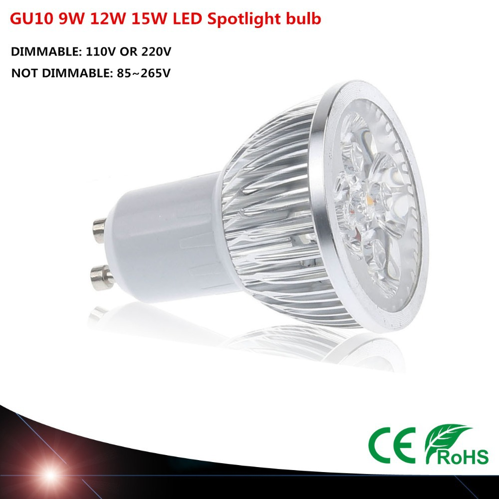 Super Bright Dimmable GU10 LED Bulb Spot Light Lamp 110V 220V 9W 12W 15W  Warm/Cold White  45 Beam Angle(China (Mainland))