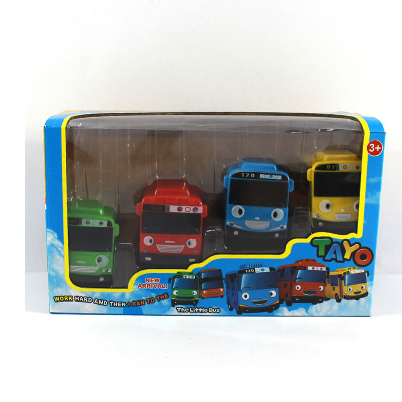 3.7 Inch 4pcs/set Tayo Little Bus Sound Light Miniature Plastic Oyuncak Araba Car Model Tayo Bus kids Gift Educational Toys(China (Mainland))