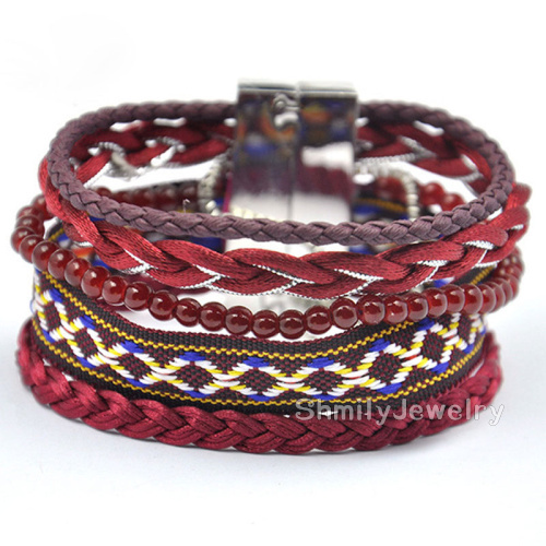 Trendy Jewelry Red Brown France Brazilian Style Handmade Woven Beaded Multilayer Friendship Magnetic Clasp Bracelets FHB-HK027(China (Mainland))