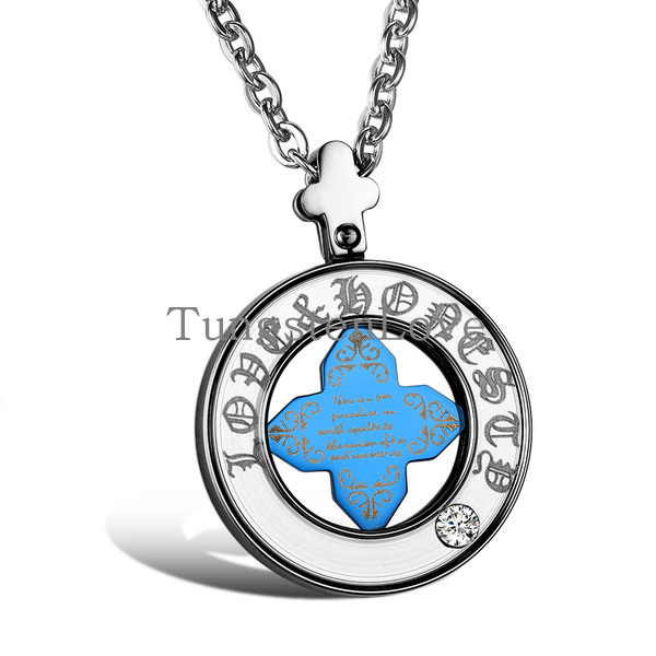 2015 Lucky Mens Womens Constellation Zodiac Pendant Necklace with Blue Cross in Stainless Steel (with Gift Bag) collares mujer(China (Mainland))