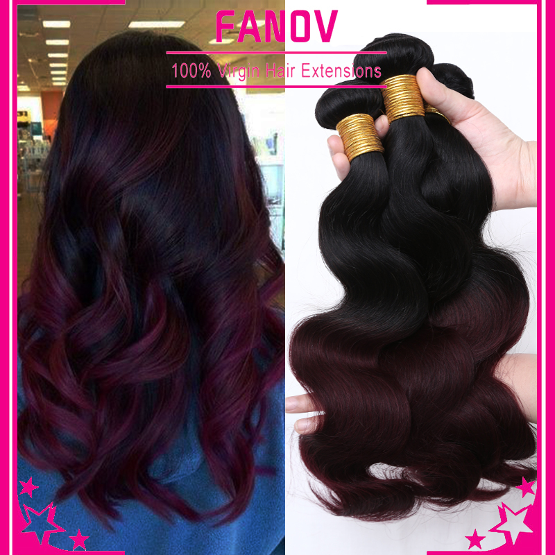6a ombre brazilian hair body wave 1b/99j ombre burgundy brazilian hair weave bundles red brazilian virgin ombre Hair extensions