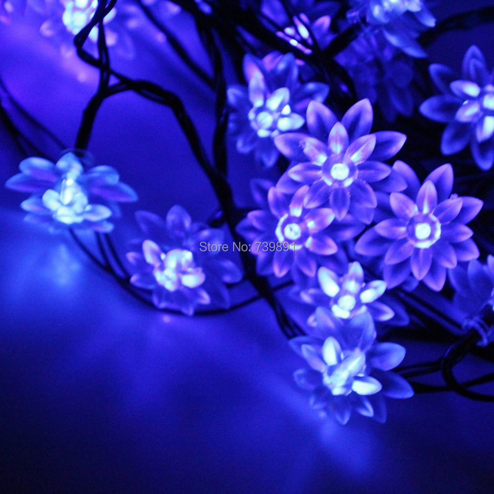 Qurosy String lights Battery Operated Lotus Flower Fairy Lights 40 Blue for indoor outdoor(China (Mainland))