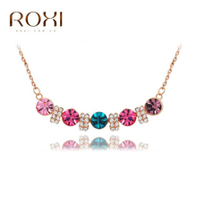 2016 ROXI Brand Top Quality Necklace Lovers Gift Multicolor Rose Gold Necklace Opal Rhinestone Necklace Pendant Fashion Jewelry(China (Mainland))