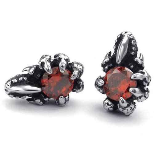 Mens Cubic Zirconia Stainless Steel Gothic Dragon Claw Stud Earrings, Red Silver(China (Mainland))
