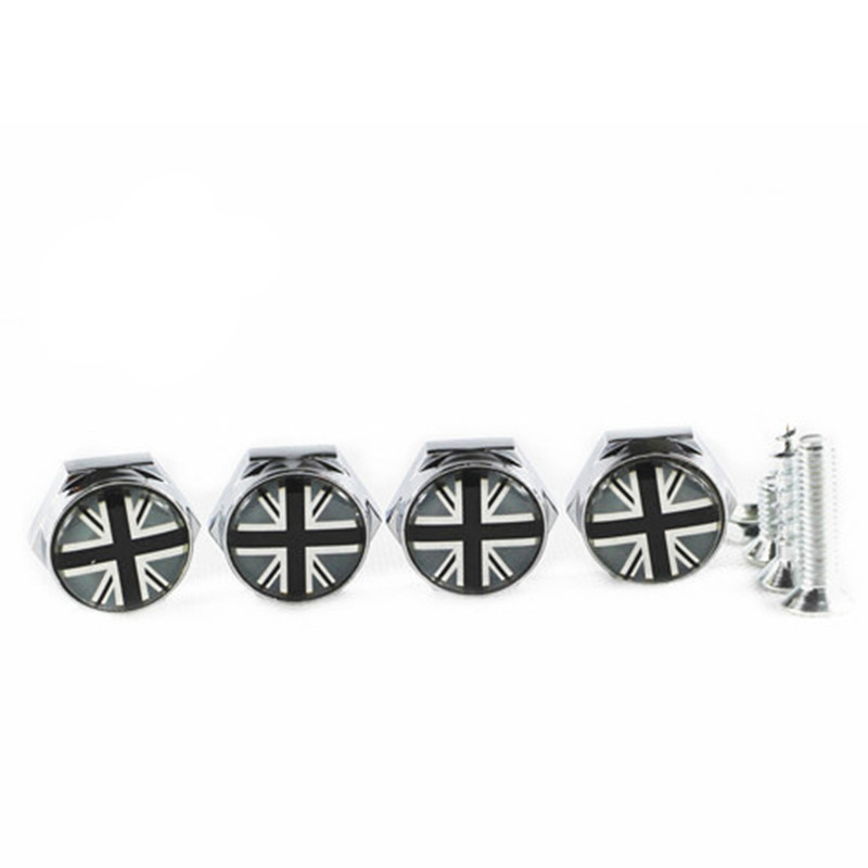 4pcs/set Car Logo Steel License Plate Frame Holder Metal Chrome Bolts for Mini Cooper(China (Mainland))