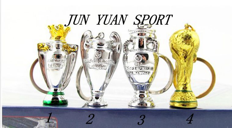 High quality! Mini Soccer Trophy Cup 4 Kind Keychain Premier League Champions League Replica Trophies,Free shipping!(China (Mainland))