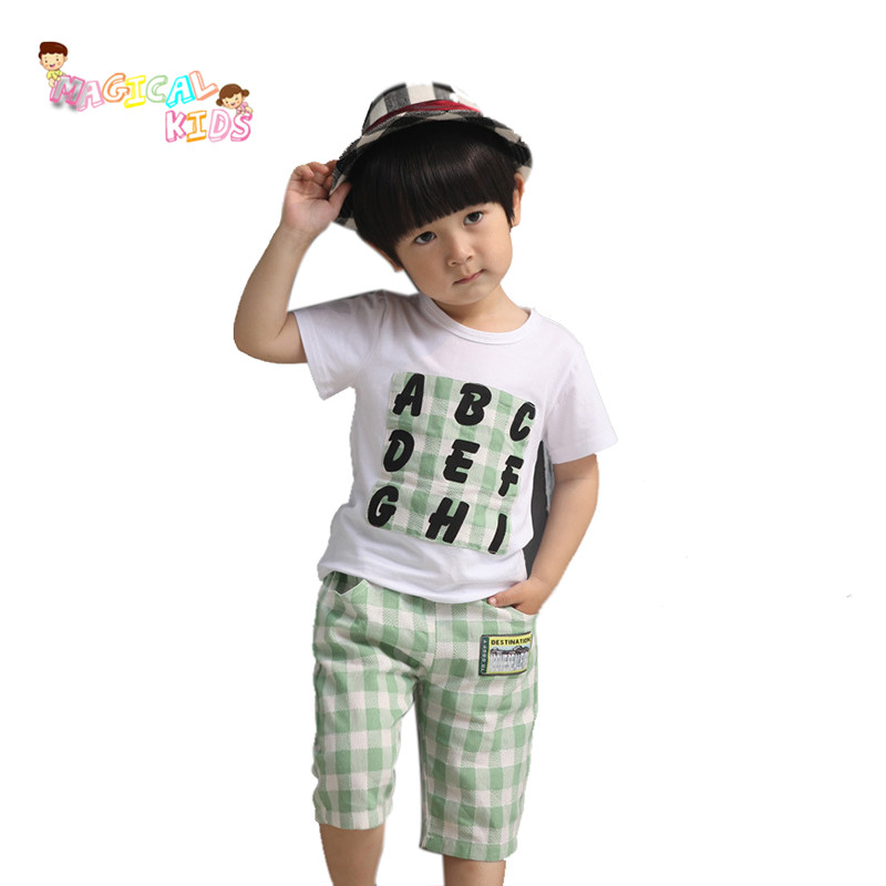 2016 New Summer Toddler Boy Clothing Sets Letters Short-sleeved Tops+Plaid Pants Boys Girls Kids Clothes Children Tracksuit(China (Mainland))