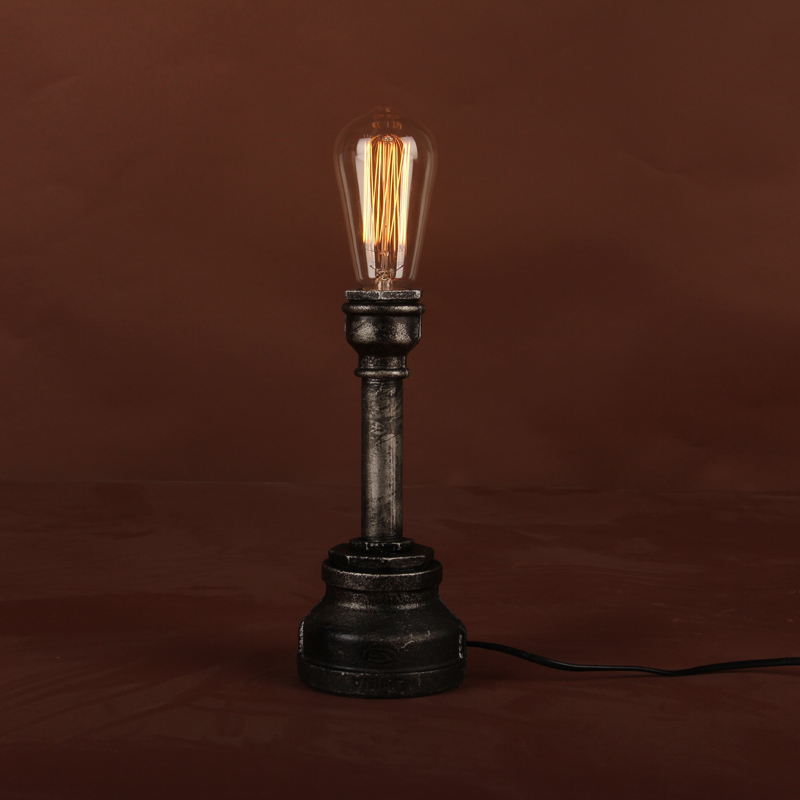 Vintage light bulb personalized tieyi water pipe table for Diy pipe lamp