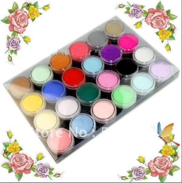 3D nail art Products 24 Colors Acrylic Powder Kit For UV Gel Nail Beauty Desgin Decoration Carve High Quality 087(China (Mainland))