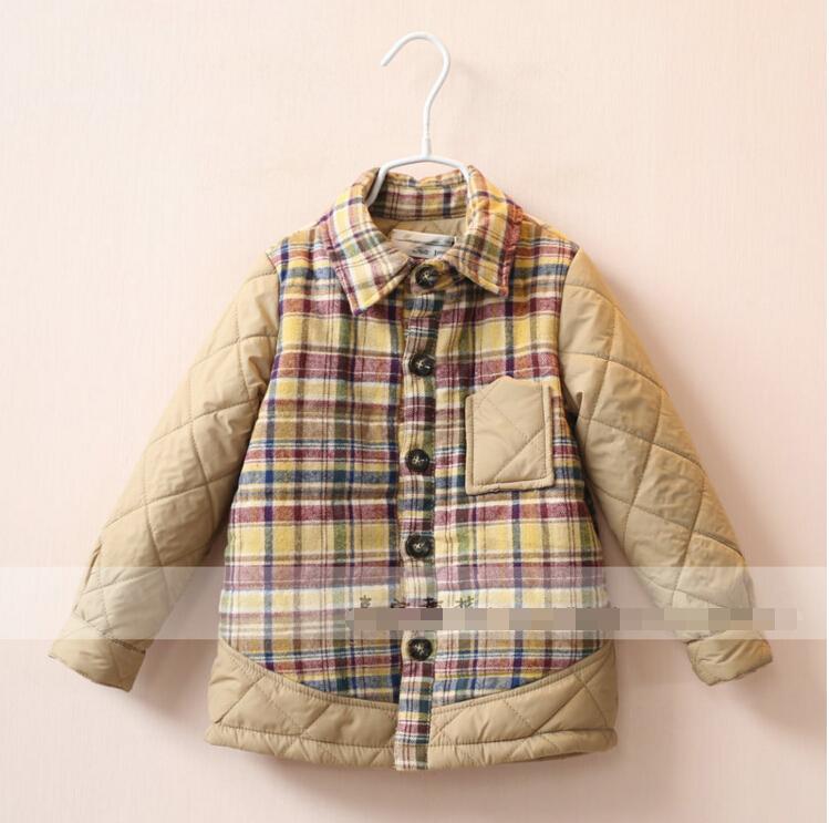 Childrens Splice shirt winter Grid Splice Add wool shirt child boys Casual coat khaki tops wholesale<br><br>Aliexpress