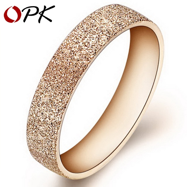 OPK JEWELRY 316L Stainless Steel Rings Circle Gold Plated Dull Polish Shiny Wedding Rings For Women Size 5 6 7 8 9 10