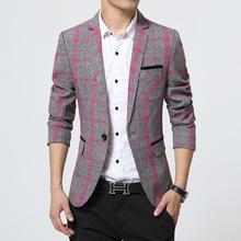 2015 New Arrival Plaid Blazer Men Cotton Unique Mens Blazers Suit Jacket Slim Fit Jaqueta Clothes Casual Fashion 13M0568(China (Mainland))