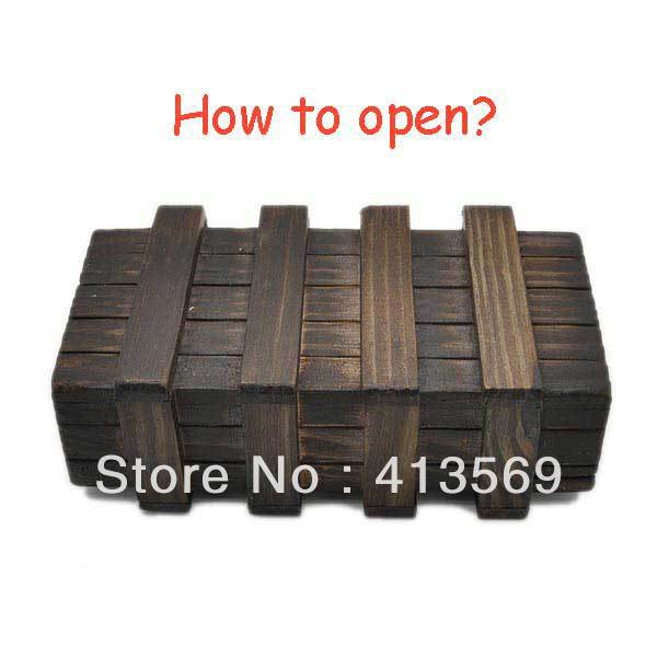 Magic Puzzle Wooden Box with Secret Drawer Toys Retro Wood Luban Lock Children's Gift Educational Toy Larger(China (Mainland))