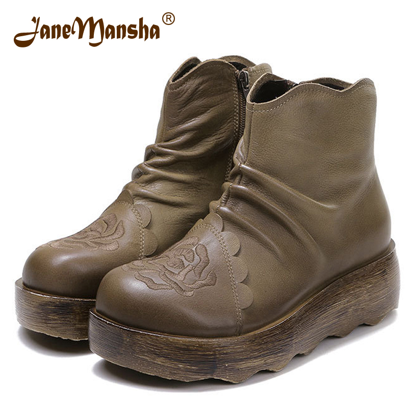 JaneMansha Women Boots Ankle RETRO Genuine Leather Flowers PleateD Stitched 5CM Wedges Handmade Platform Chelsea Boots RWB051(China (Mainland))