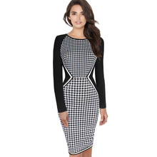 Womens Elegant Tartan Houndstooth Check Plaid Optical Illusion Tunic Slim Casual Wear to Work Bodycon Pencil Dress 1722