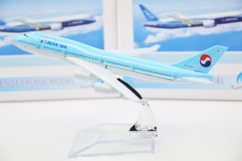 16cm Diecast 1/400 AirPlane Assembled Model Boeing747 Korean Aircraft Airline(China (Mainland))