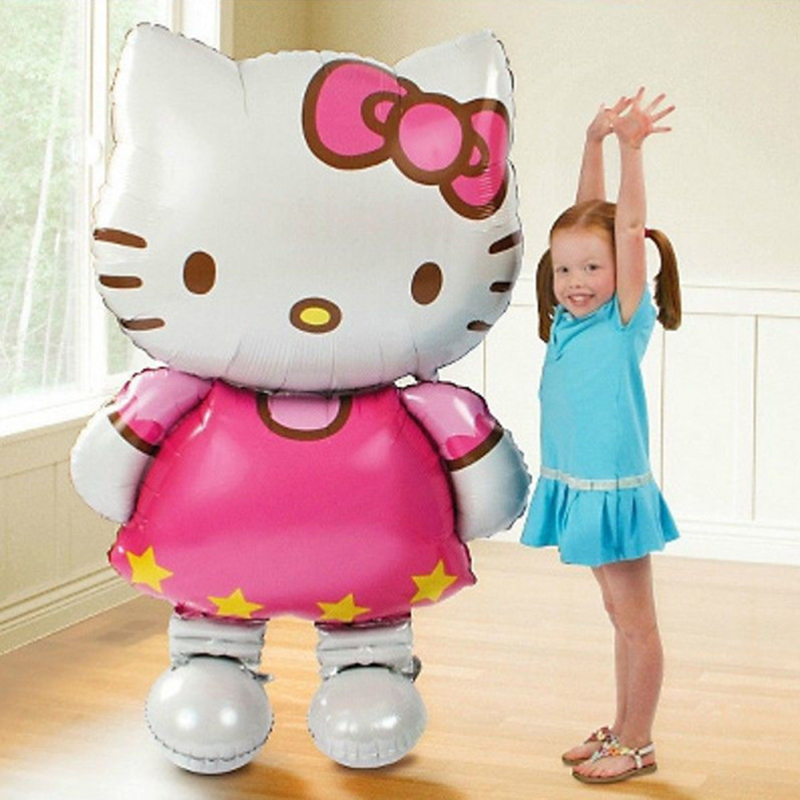 110*64cm Large Size or 80*47cm Small Size Hello Kitty Foil Balloon Cartoon Kids Air Balloons Party Decoration Girl Birthday Gift(China (Mainland))