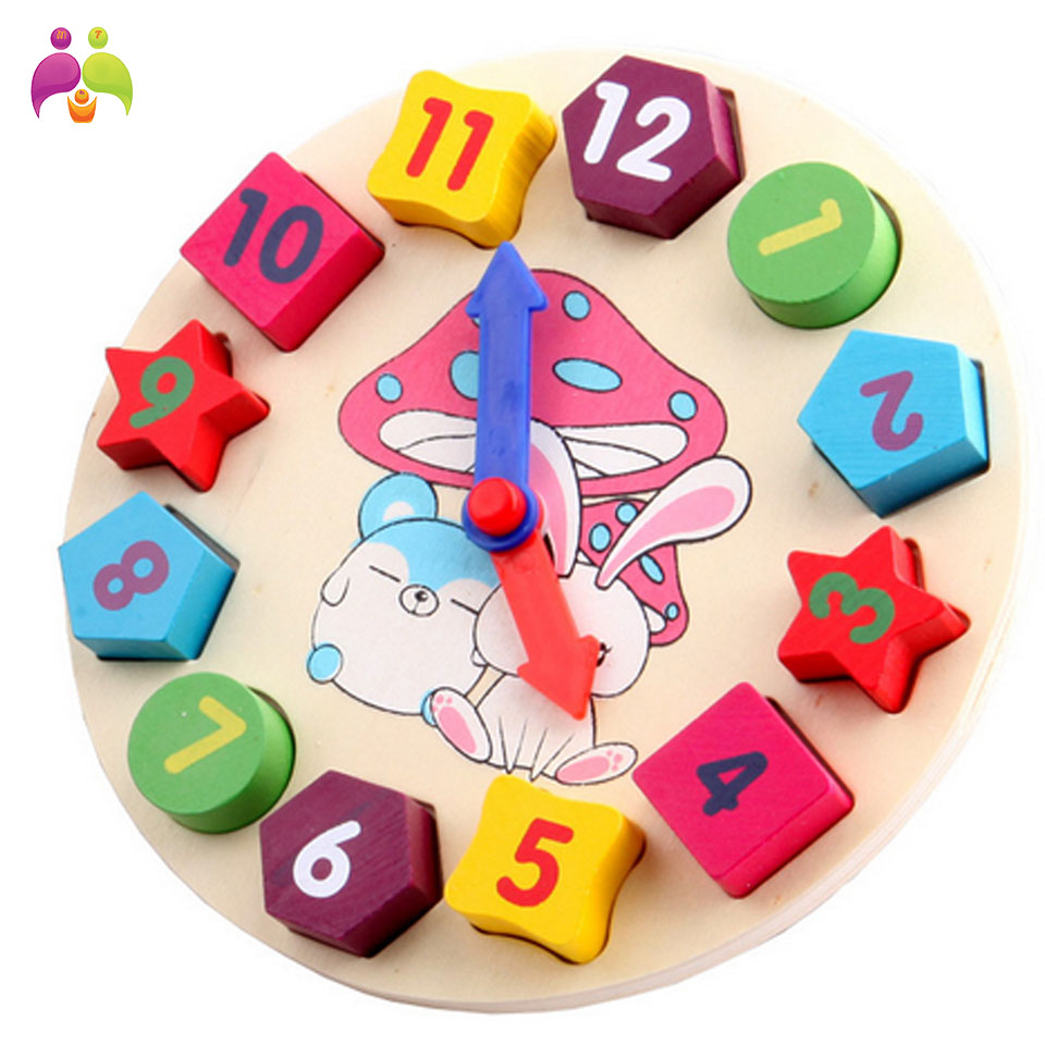 Baby Kids Childrens Education Wooden Puzzle Toys Wooden Digital Clock Jigsaw Toy Geometry Stacking Toys Wholesale MBF18(China (Mainland))