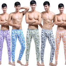 Male long johns national trend thermal print separate 100% cotton beauty care male thick legging tight(China (Mainland))