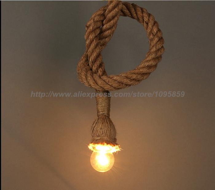 Handmade hemp rope Pendant Light  Hanging Rope ceiling dining room lamp Rope Light single arm <br><br>Aliexpress