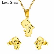 2016 Hot sell Lovely Cartoon Style Stainless Steel Jewelry Set  Necklace And Earrings T0161(China (Mainland))