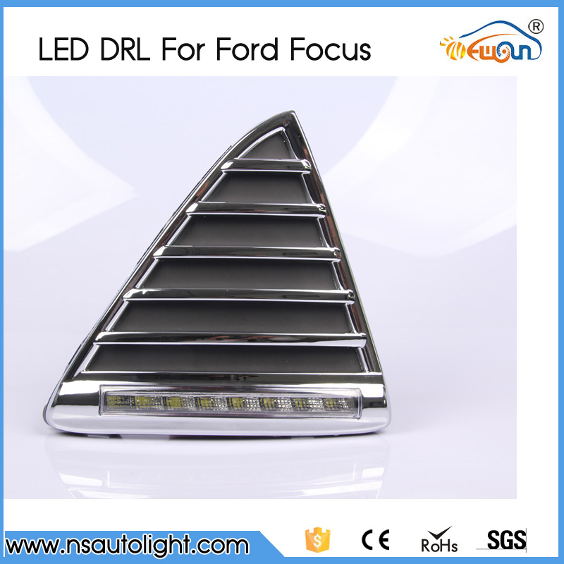 One pair DRL 8W 12V led daytime lighting day driving lamps running lights fog lamps for Ford Focus 2012(China (Mainland))