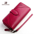 Difenise Fashion vintage genuine Cow leather long Wallet Womens wallets and purses large capacity Hollow Out
