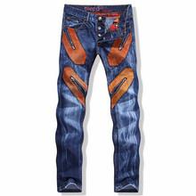 New Arrival 2016 Spring Winter Men Slim Jeans Pants Orange Cloth Patchwork Denim Zipper Long Straight Trousers Plus Size(China (Mainland))